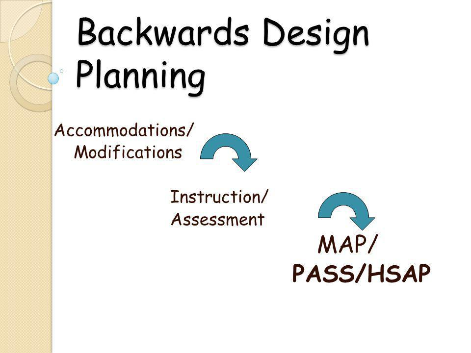 Backwards Design Planning Accommodations/ Modifications Instruction/ Assessment MAP/ PASS/HSAP