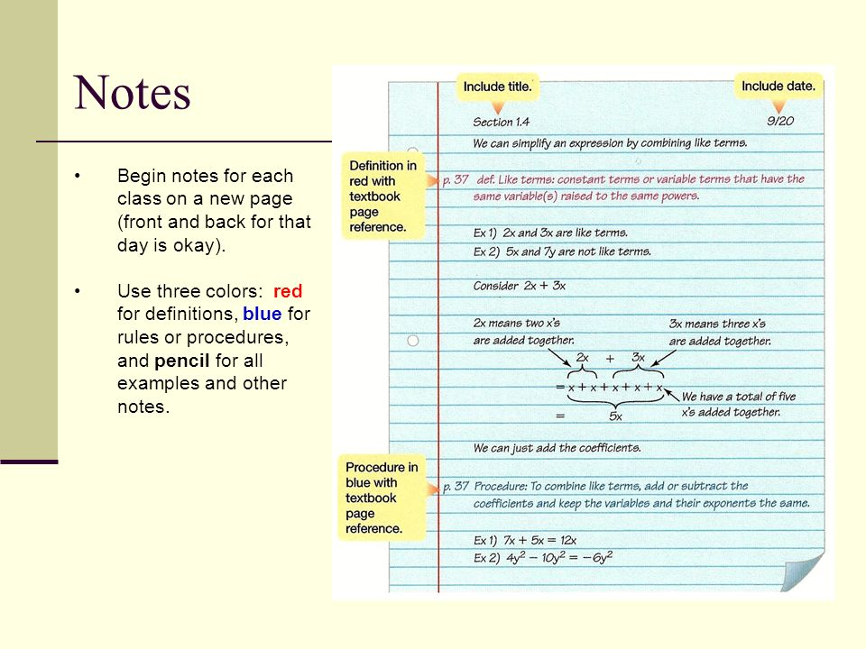 Begin notes for each class on a new page (front and back for that day is okay).