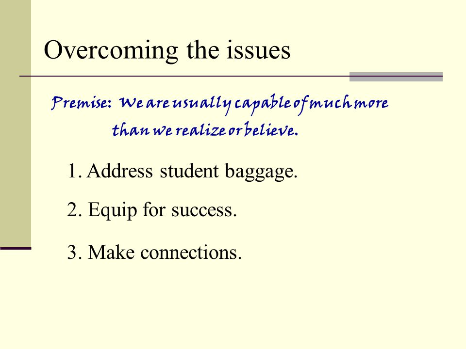Overcoming the issues 1. Address student baggage.