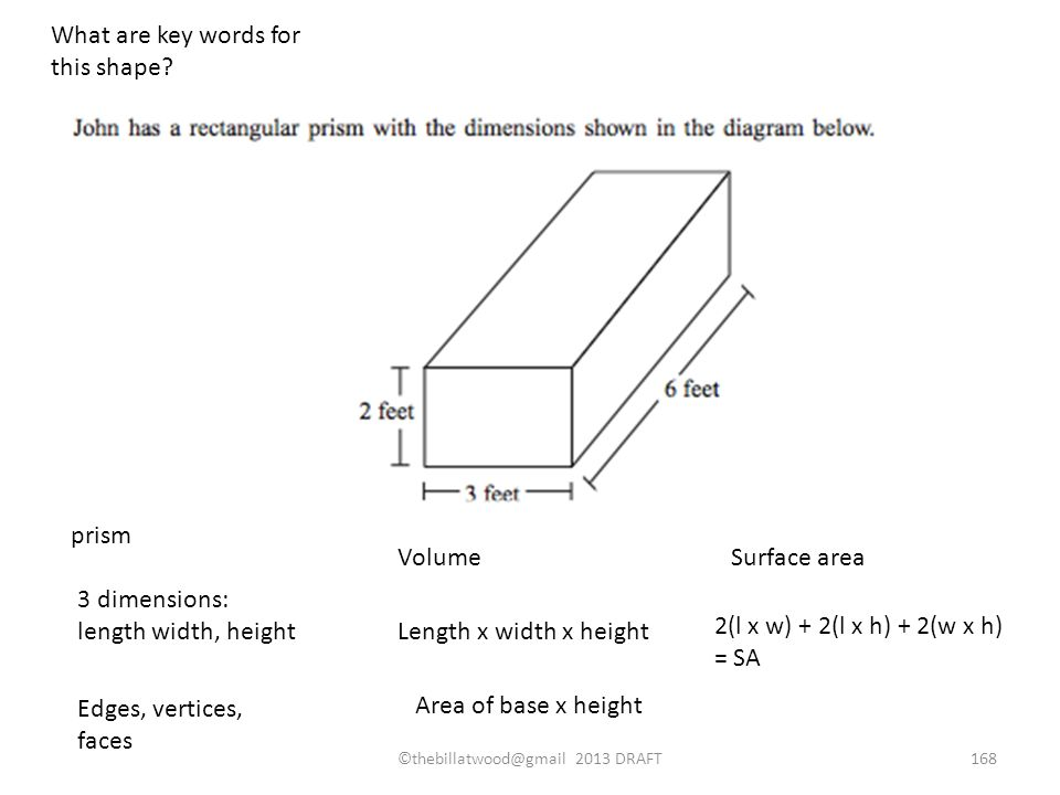 prism 3 dimensions: length width, height VolumeSurface area Edges, vertices, faces Length x width x height Area of base x height 2(l x w) + 2(l x h) + 2(w x h) = SA What are key words for this shape.