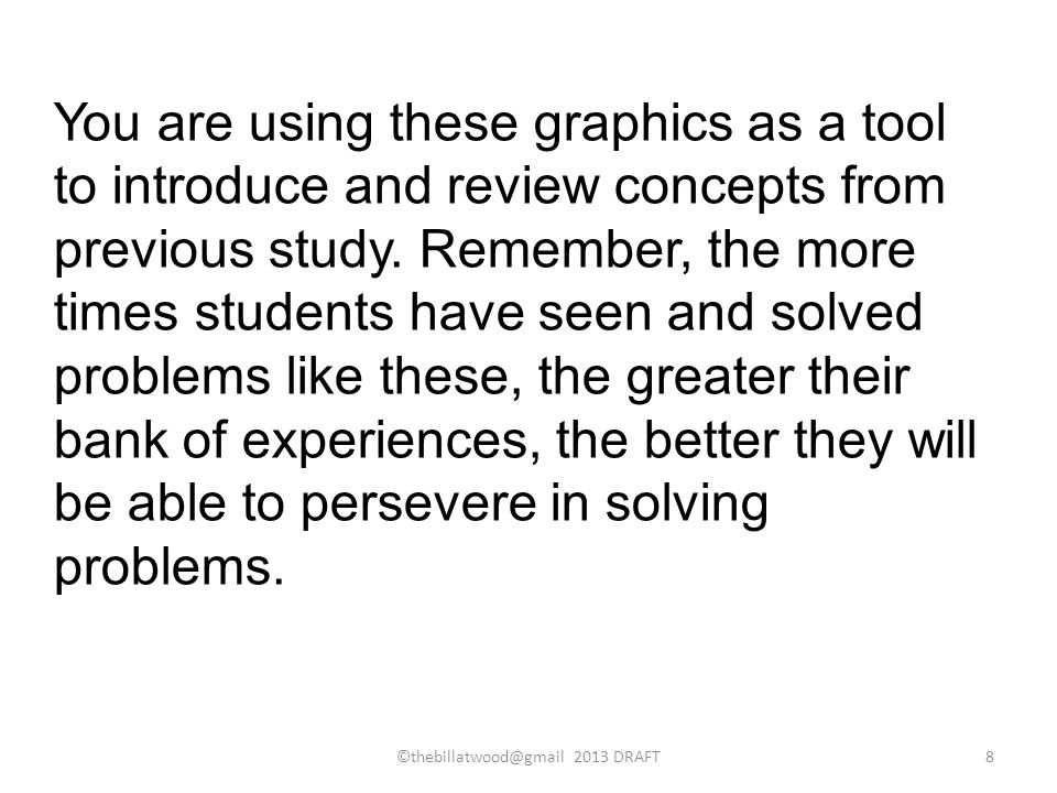 You are using these graphics as a tool to introduce and review concepts from previous study.