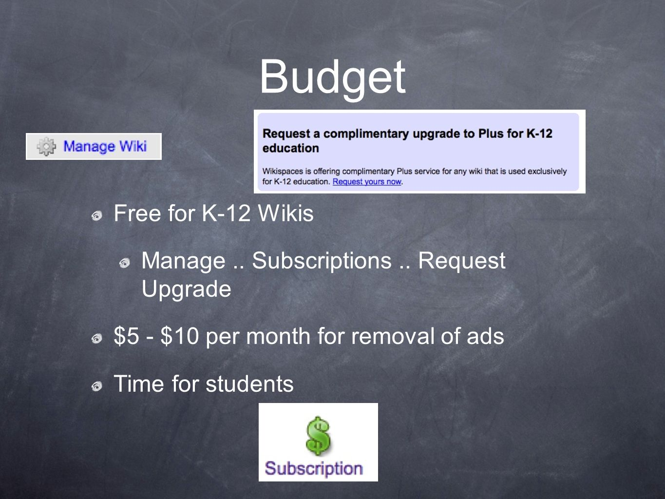 Budget Free for K-12 Wikis Manage.. Subscriptions..