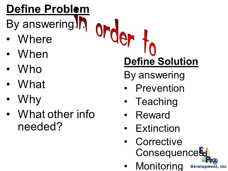 Using Data to Build Solutions Prevention: How can we avoid the problem context.