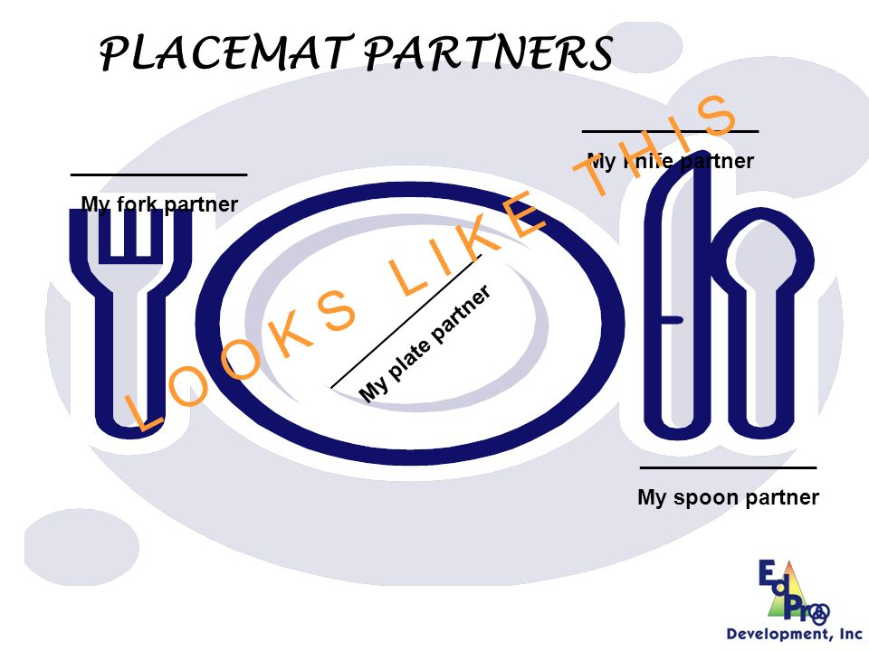 Get out your Placemat Partners worksheet.