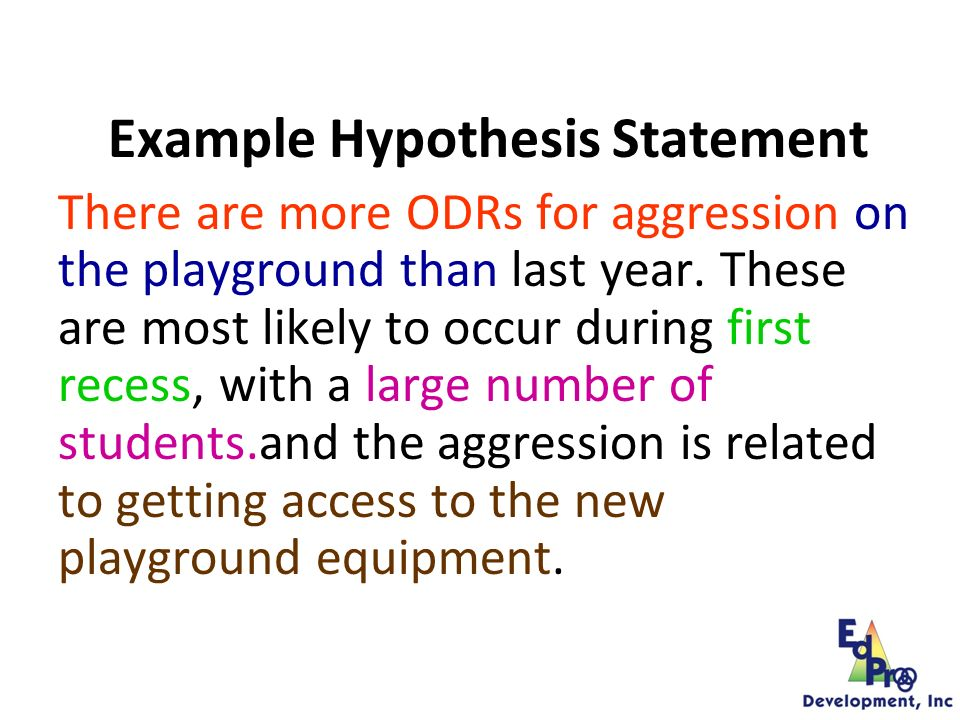 Hypotheses = WHY IN WORDS SUCH AS… ~ We believe ~ We think ~ Because, etc.