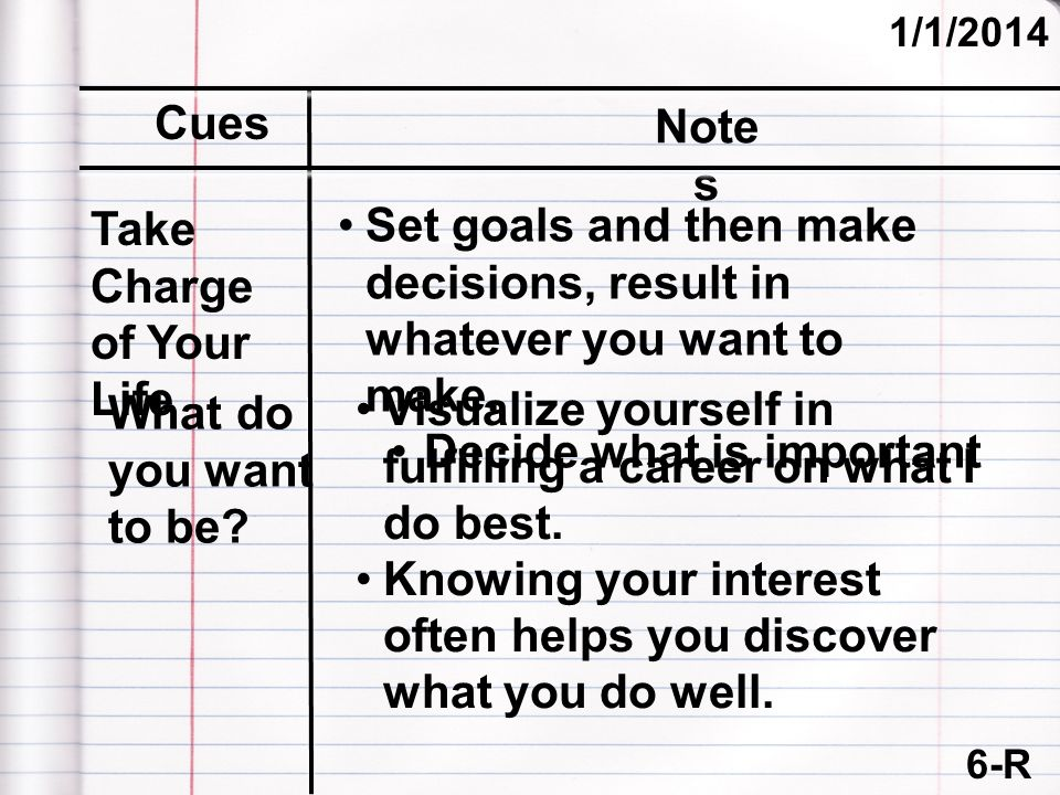 6-R (cont.) 1/1/2014 Cues Note s Set goals and then make decisions, result in whatever you want to make.