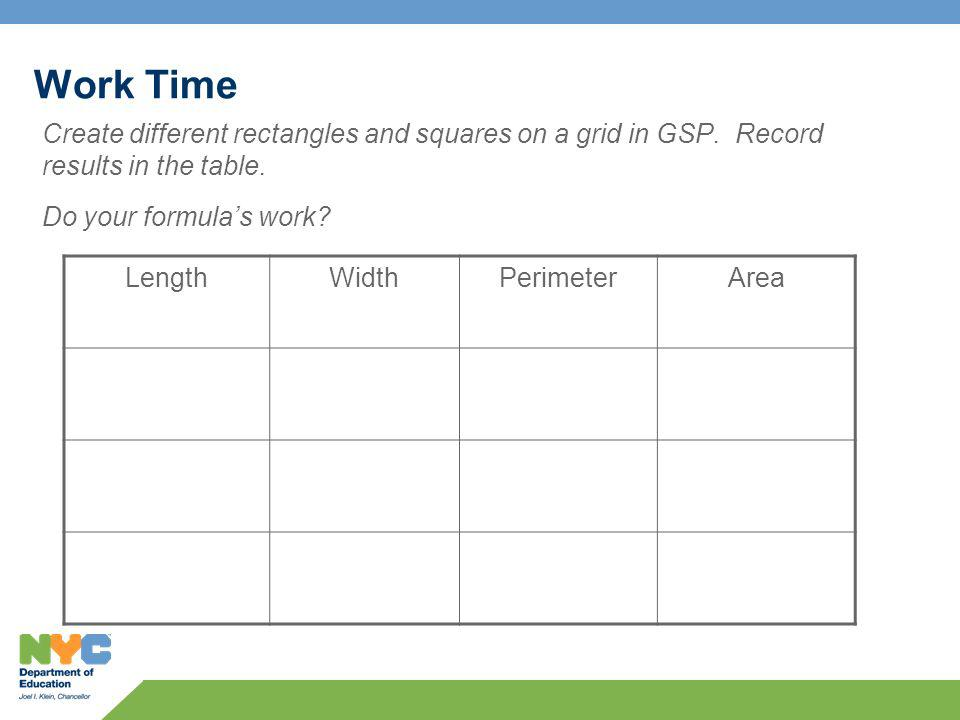 Work Time Create different rectangles and squares on a grid in GSP.