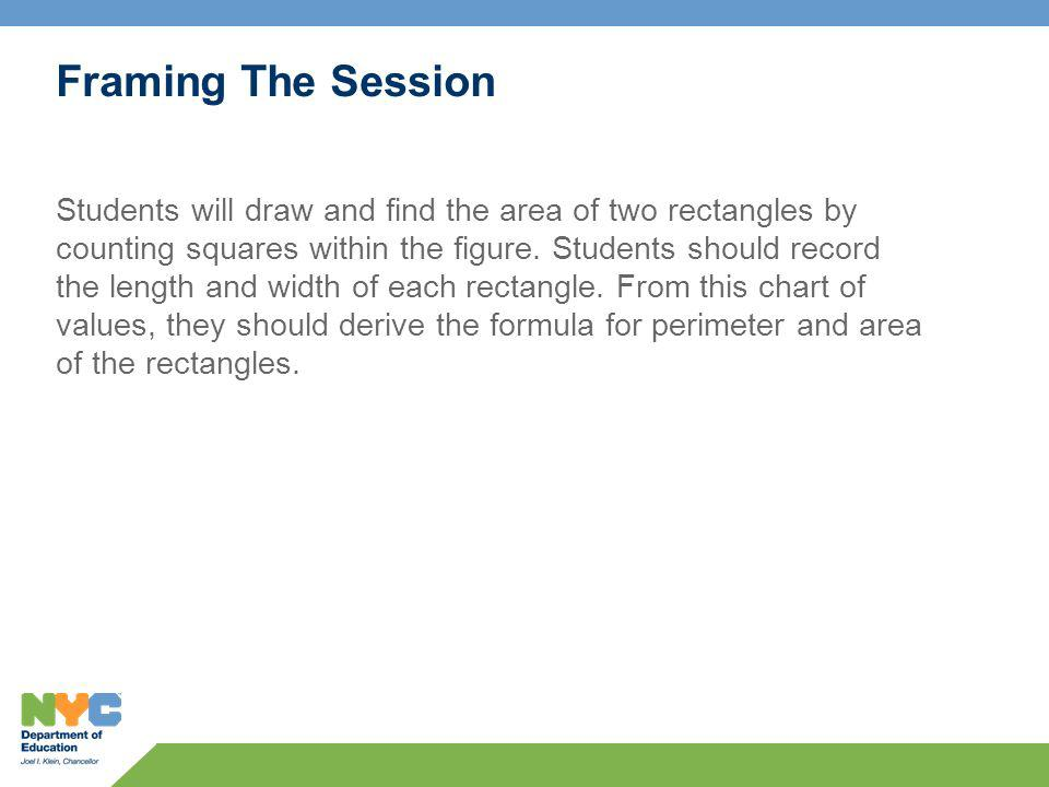 Framing The Session Students will draw and find the area of two rectangles by counting squares within the figure.