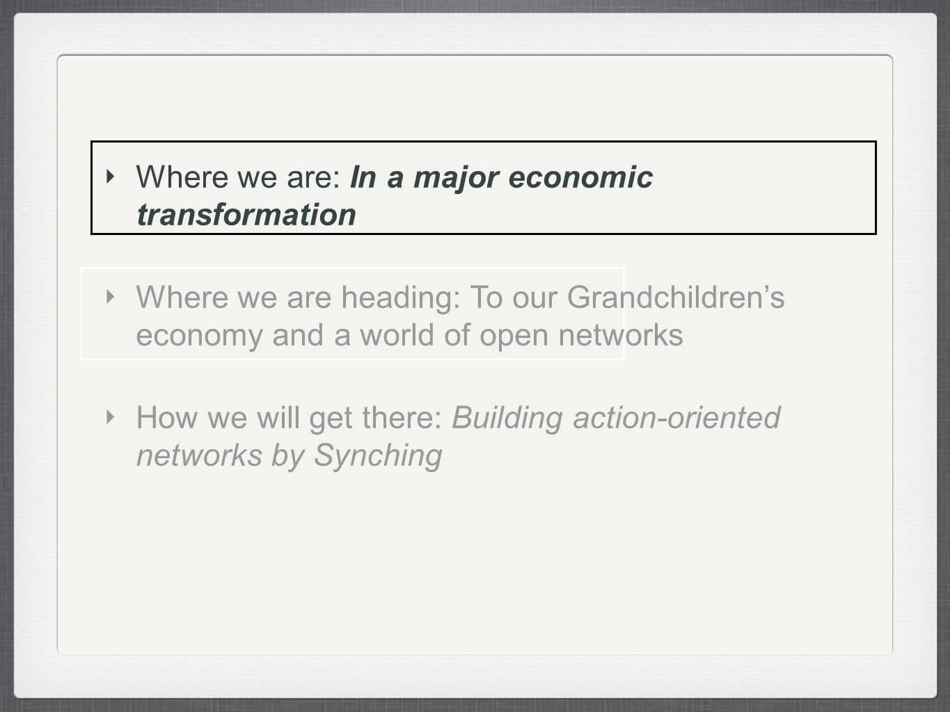 Where we are: In a major economic transformation Where we are heading: To our Grandchildrens economy and a world of open networks How we will get there: Building action-oriented networks by Synching