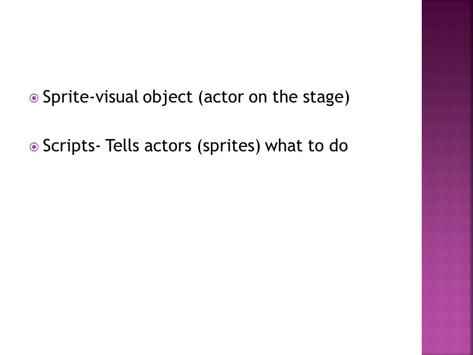 Sprite-visual object (actor on the stage) Scripts- Tells actors (sprites) what to do
