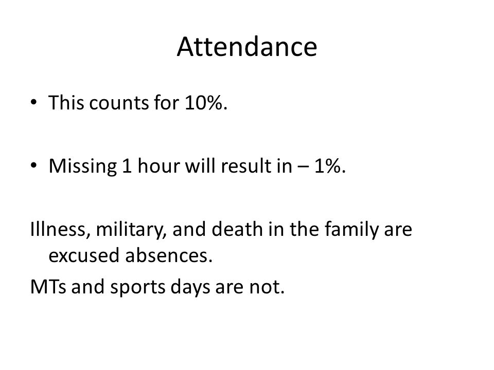 Attendance This counts for 10%. Missing 1 hour will result in – 1%.