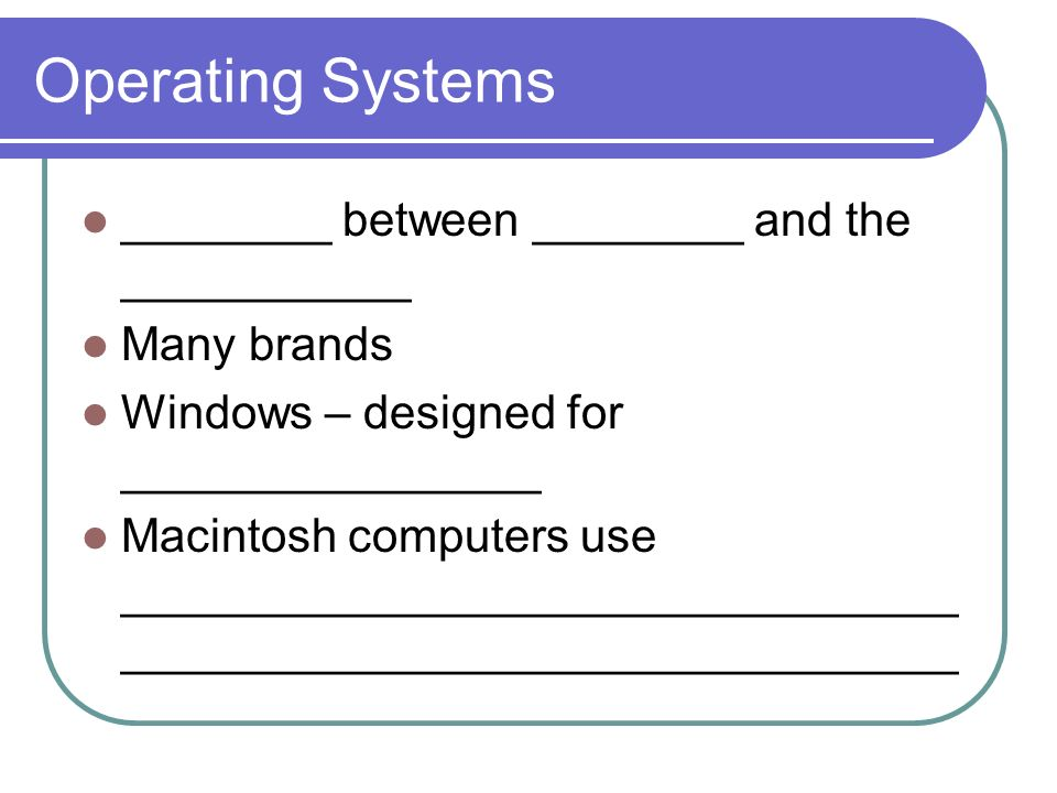 Operating Systems ________ between ________ and the ___________ Many brands Windows – designed for ________________ Macintosh computers use ________________________________ ________________________________