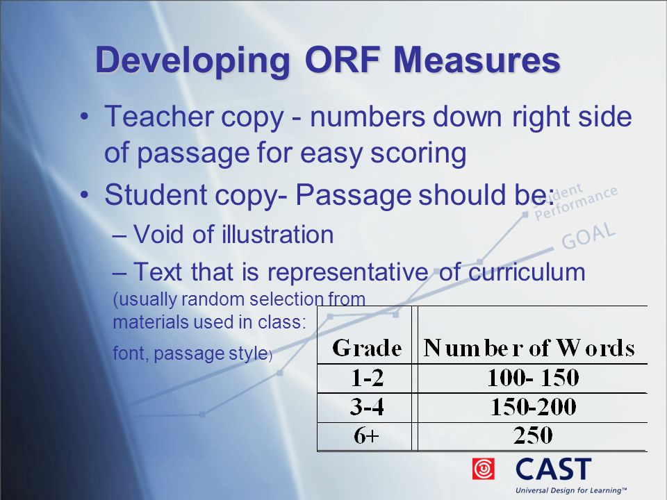 Developing ORF Measures Teacher copy - numbers down right side of passage for easy scoring Student copy- Passage should be: –Void of illustration –Text that is representative of curriculum (usually random selection from materials used in class: font, passage style )