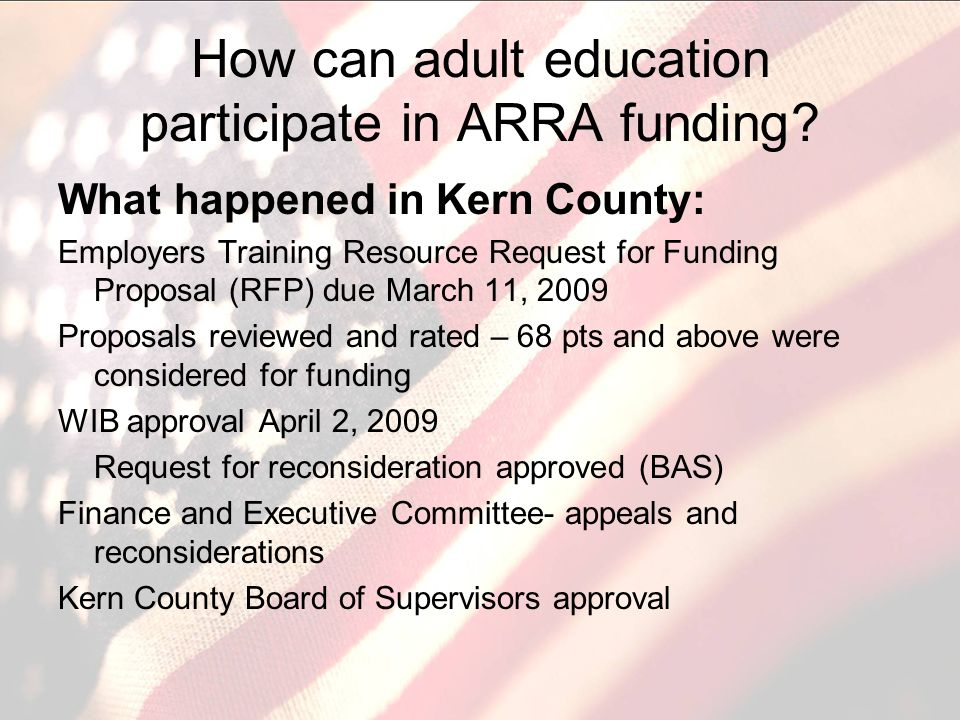 How can adult education participate in ARRA funding.