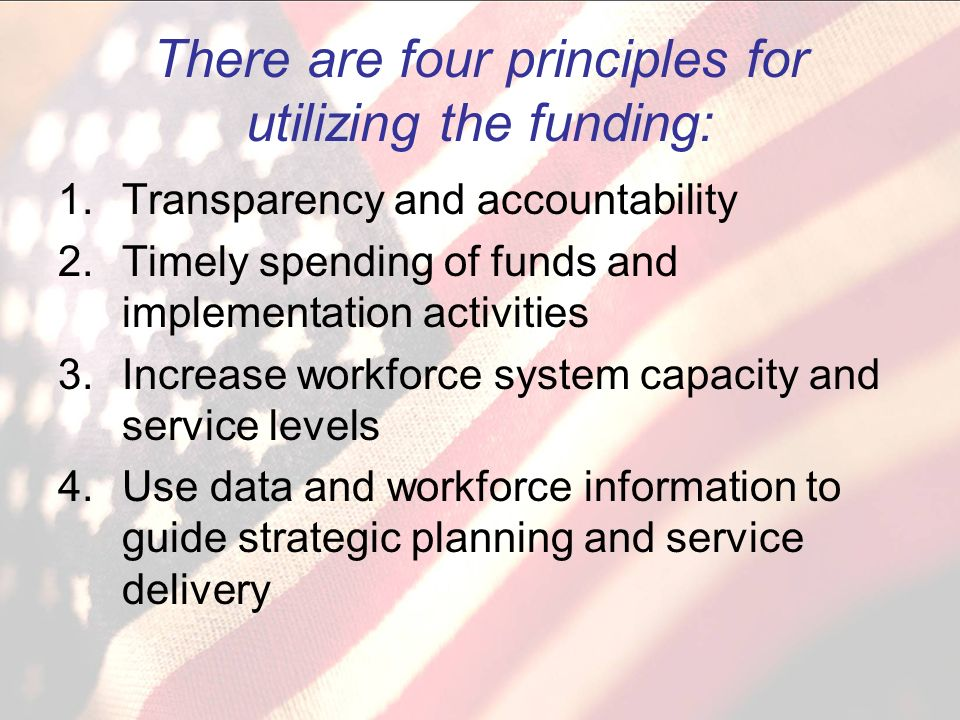 There are four principles for utilizing the funding: 1.Transparency and accountability 2.Timely spending of funds and implementation activities 3.Increase workforce system capacity and service levels 4.Use data and workforce information to guide strategic planning and service delivery