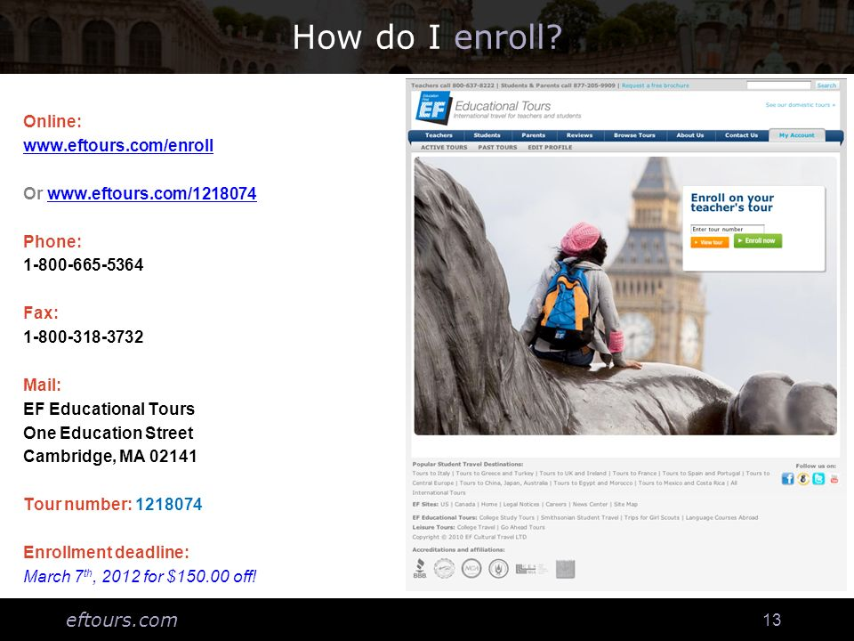 eftours.com 13 How do I enroll.