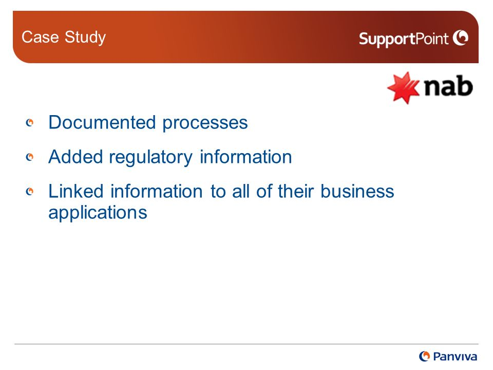 Case Study Documented processes Added regulatory information Linked information to all of their business applications