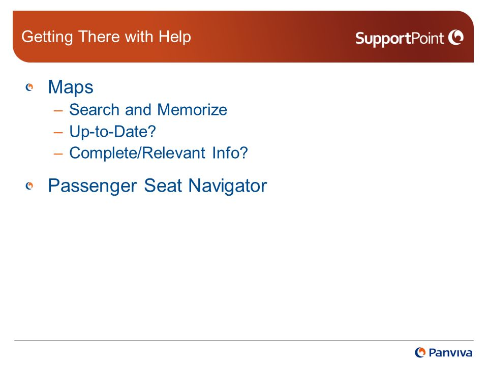 Getting There with Help Maps –Search and Memorize –Up-to-Date.