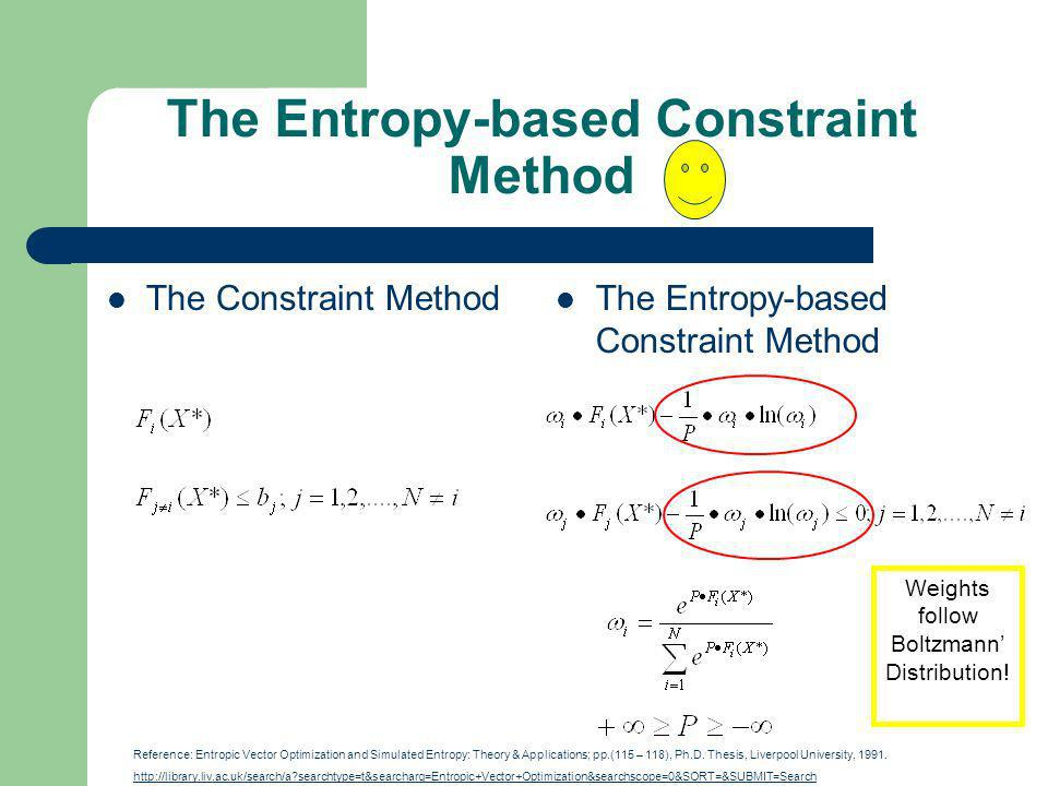 The Entropy-based Constraint Method The Constraint Method The Entropy-based Constraint Method Reference: Entropic Vector Optimization and Simulated Entropy: Theory & Applications; pp.(115 – 118), Ph.D.