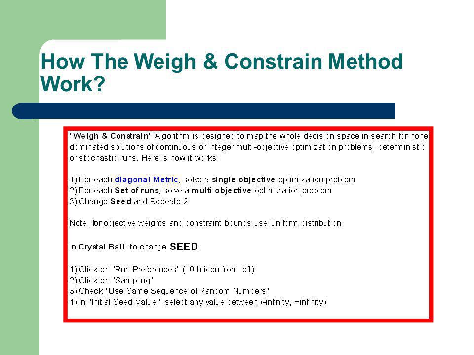 How The Weigh & Constrain Method Work