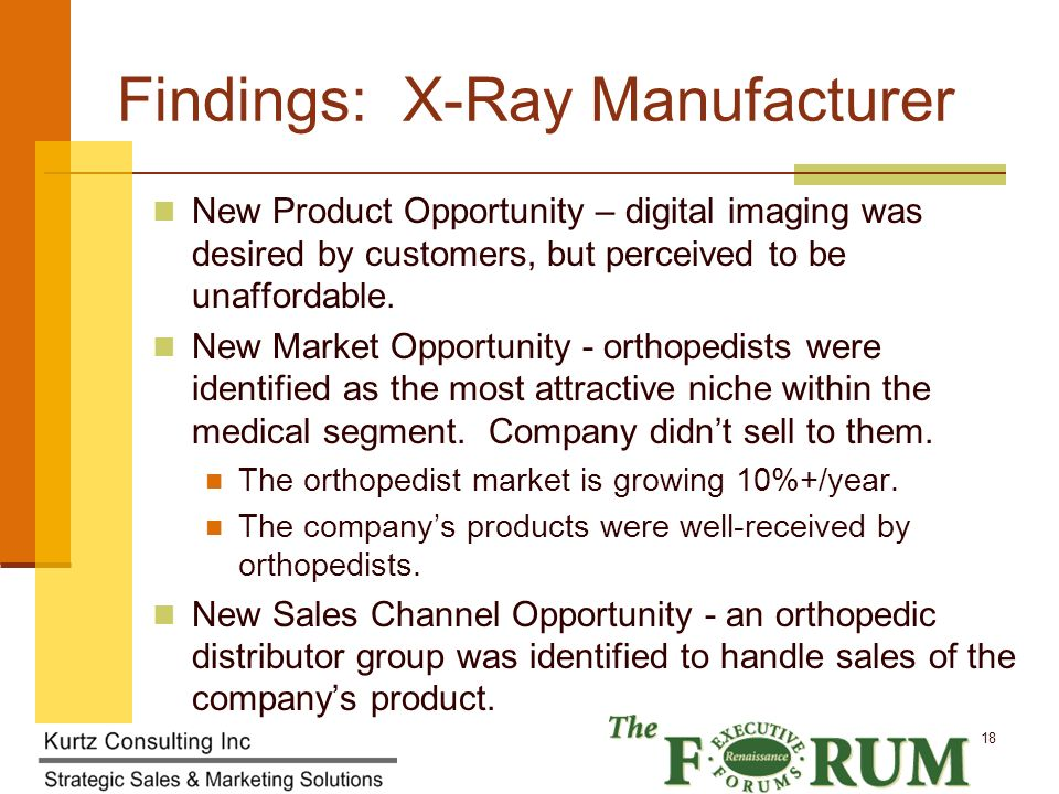 Kurtz Consulting Inc 18 Findings: X-Ray Manufacturer New Product Opportunity – digital imaging was desired by customers, but perceived to be unaffordable.