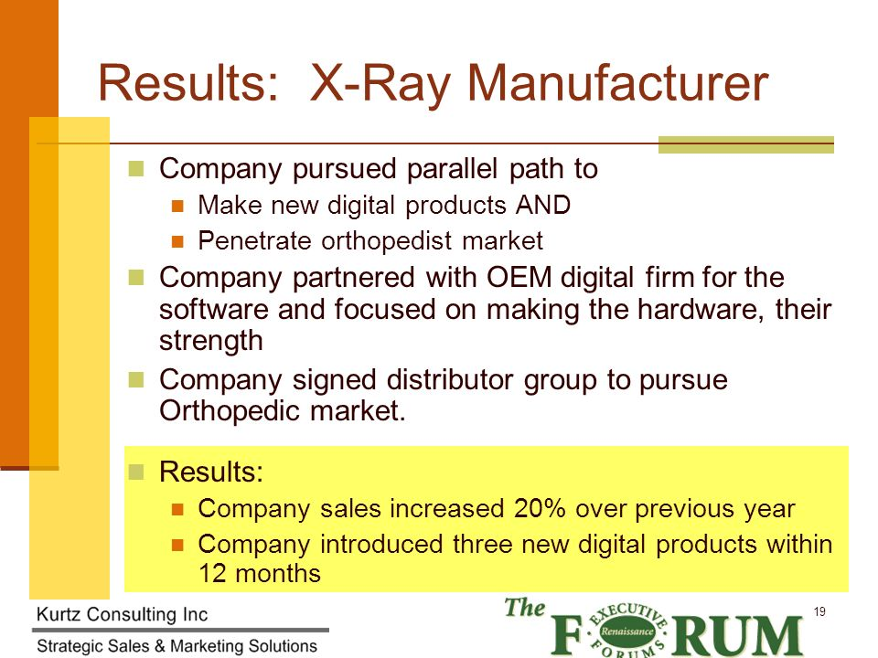 Kurtz Consulting Inc 19 Results: X-Ray Manufacturer Company pursued parallel path to Make new digital products AND Penetrate orthopedist market Company partnered with OEM digital firm for the software and focused on making the hardware, their strength Company signed distributor group to pursue Orthopedic market.