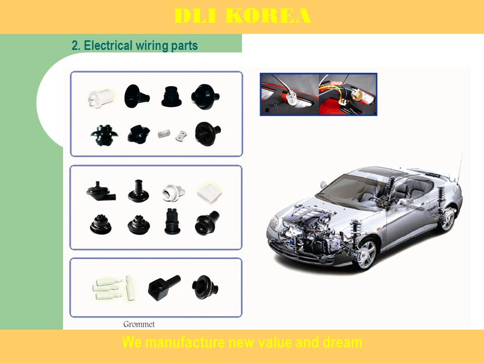 DLI KOREA 2. Electrical wiring parts We manufacture new value and dream