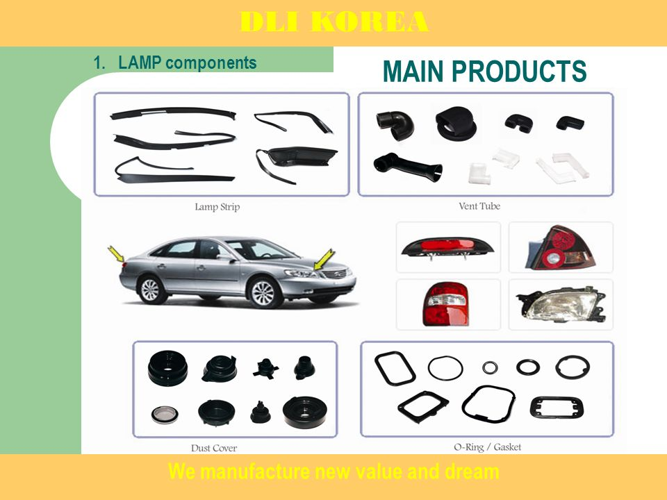 MAIN PRODUCTS 1.LAMP components DLI KOREA We manufacture new value and dream