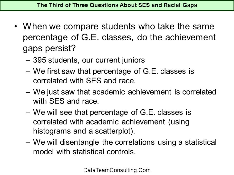 When we compare students who take the same percentage of G.E.
