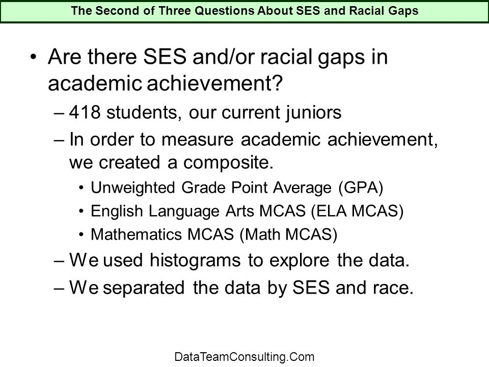 Are there SES and/or racial gaps in academic achievement.