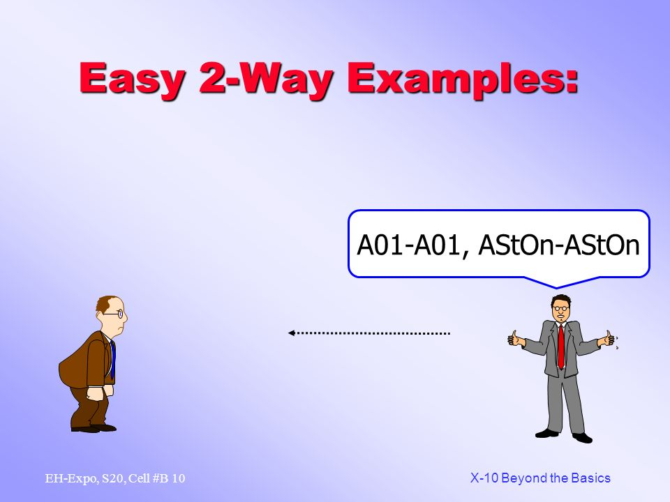 9 X-10 Beyond the Basics EH-Expo, S20, Cell #B Easy 2-Way Examples: A01-A01, AOn-AOn ON A01-A01, AStRq-AStRq