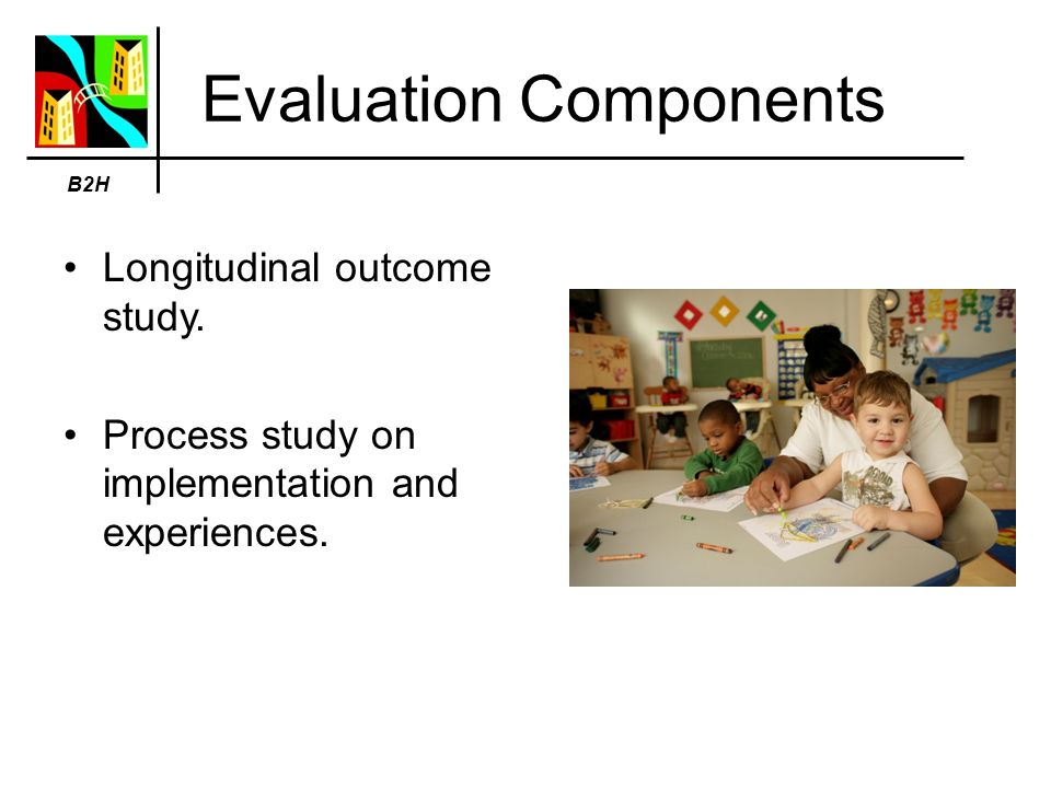 Evaluation Components Longitudinal outcome study. Process study on implementation and experiences.