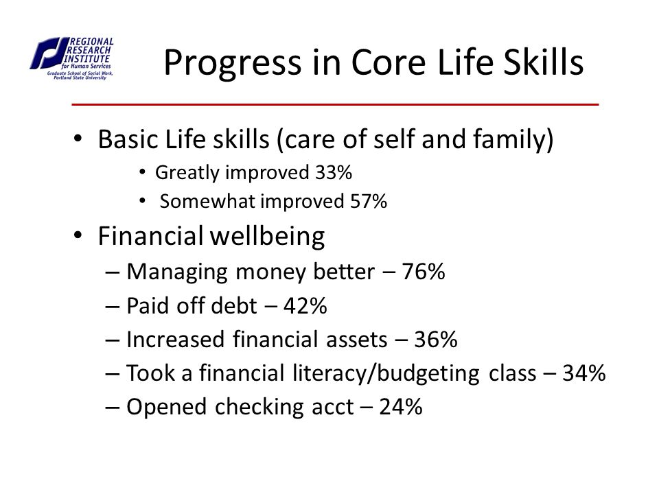 Progress in Core Life Skills Basic Life skills (care of self and family) Greatly improved 33% Somewhat improved 57% Financial wellbeing – Managing money better – 76% – Paid off debt – 42% – Increased financial assets – 36% – Took a financial literacy/budgeting class – 34% – Opened checking acct – 24%