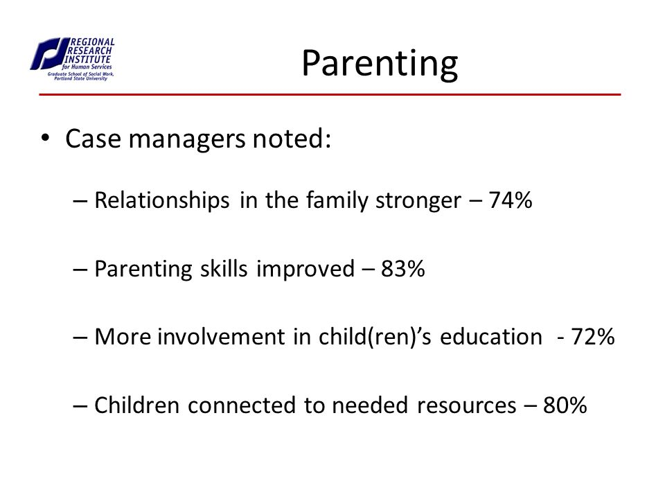 Parenting Case managers noted: – Relationships in the family stronger – 74% – Parenting skills improved – 83% – More involvement in child(ren)s education - 72% – Children connected to needed resources – 80%
