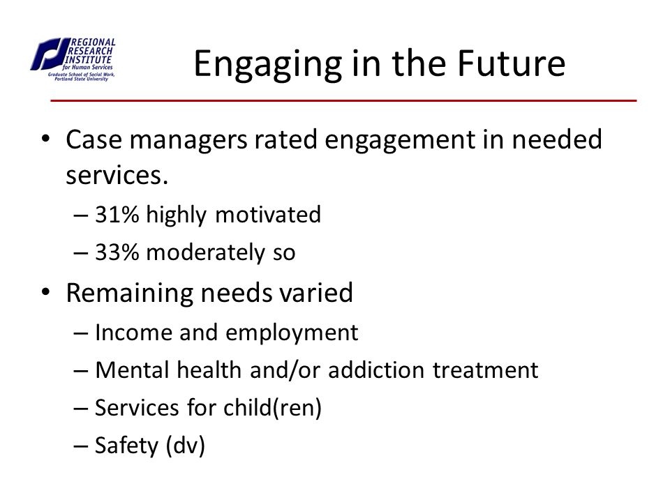 Engaging in the Future Case managers rated engagement in needed services.
