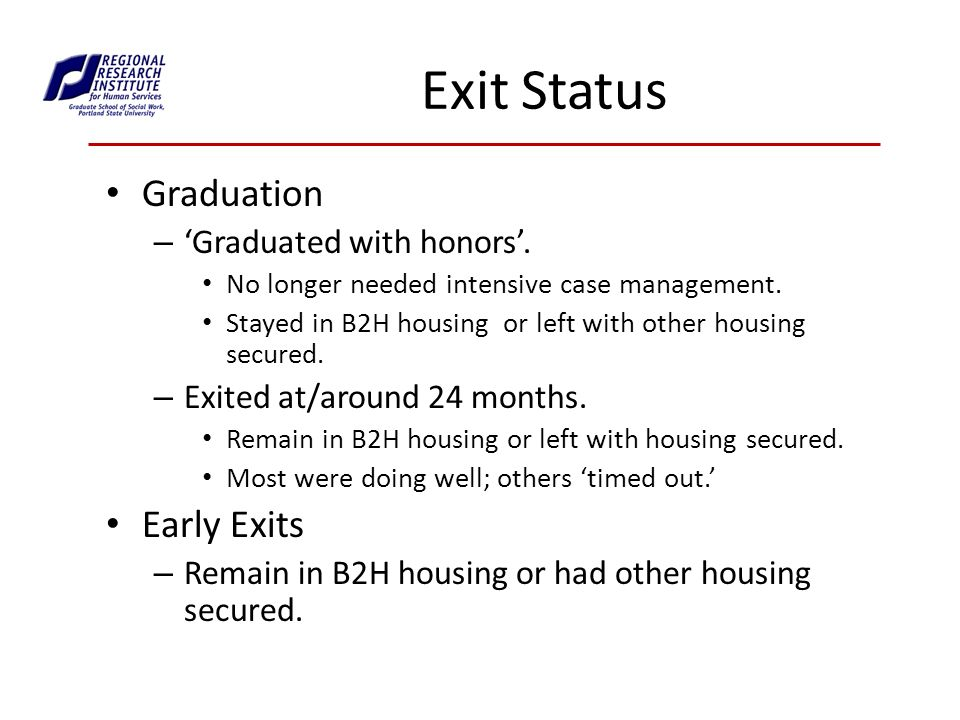 Exit Status Graduation – Graduated with honors. No longer needed intensive case management.