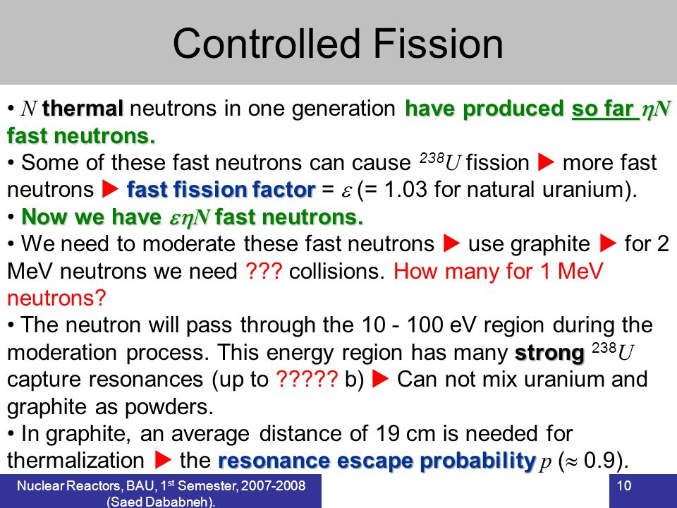 10 Controlled Fission thermalhave produced so far N fast neutrons.