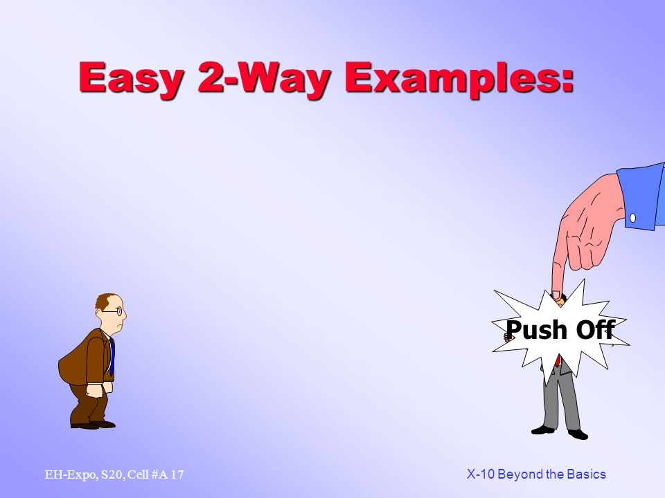 16 X-10 Beyond the Basics EH-Expo, S20, Cell #A Easy 2-Way Examples: A01-A01, AStOn-AStOn