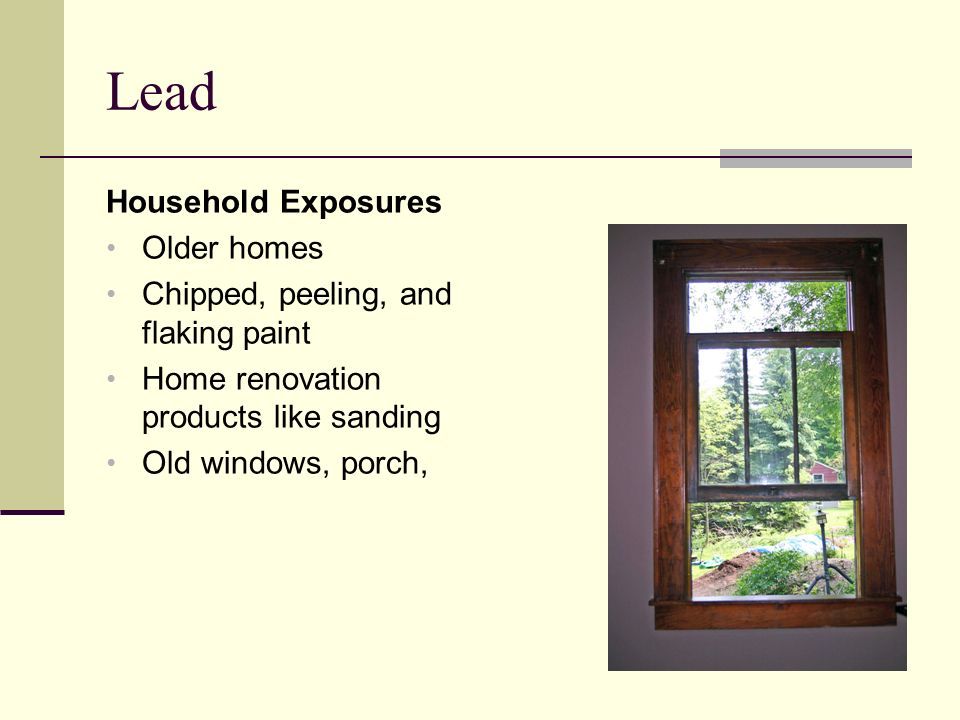Lead Household Exposures Older homes Chipped, peeling, and flaking paint Home renovation products like sanding Old windows, porch,