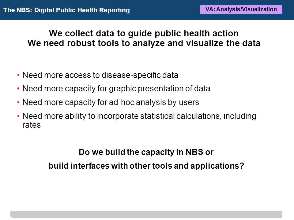 The NBS: Digital Public Health Reporting VA: Analysis/Visualization We collect data to guide public health action We need robust tools to analyze and visualize the data Need more access to disease-specific data Need more capacity for graphic presentation of data Need more capacity for ad-hoc analysis by users Need more ability to incorporate statistical calculations, including rates Do we build the capacity in NBS or build interfaces with other tools and applications