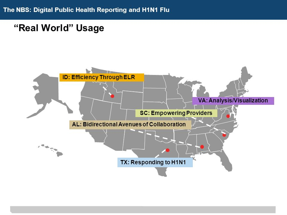 The NBS: Digital Public Health ReportingThe NBS: Digital Public Health Reporting and H1N1 Flu Real World Usage TX: Responding to H1N1 SC: Empowering Providers AL: Bidirectional Avenues of Collaboration ID: Efficiency Through ELR VA: Analysis/Visualization