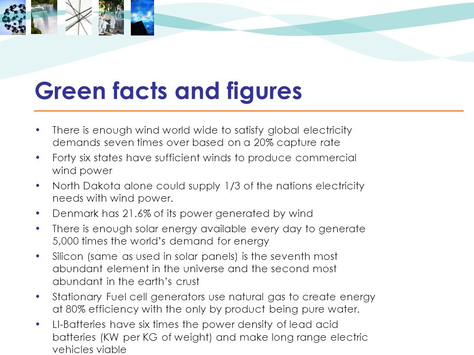 Green facts and figures There is enough wind world wide to satisfy global electricity demands seven times over based on a 20% capture rate Forty six states have sufficient winds to produce commercial wind power North Dakota alone could supply 1/3 of the nations electricity needs with wind power.