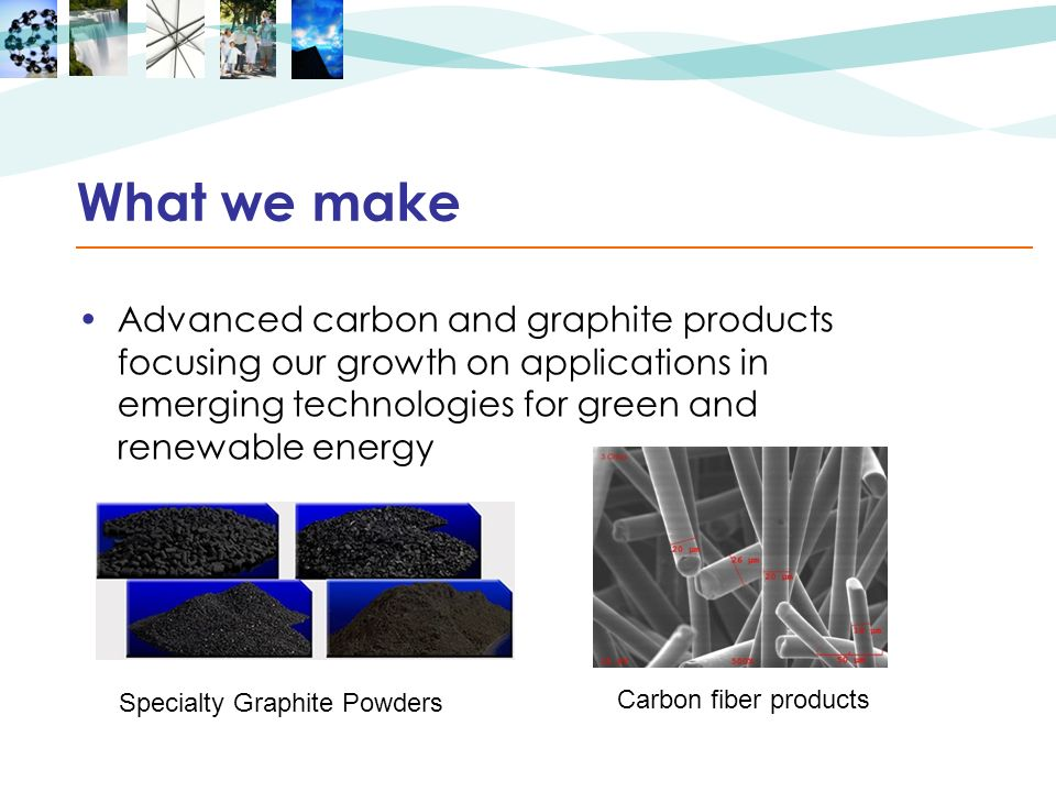 What we make Advanced carbon and graphite products focusing our growth on applications in emerging technologies for green and renewable energy Specialty Graphite Powders Carbon fiber products