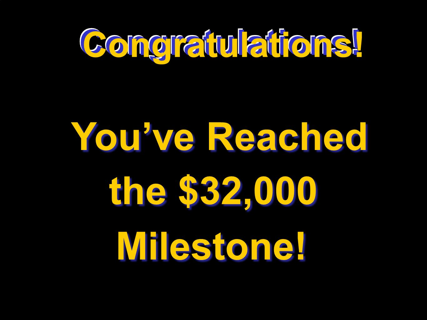 Congratulations! Youve Reached the $32,000 Milestone! Congratulations!
