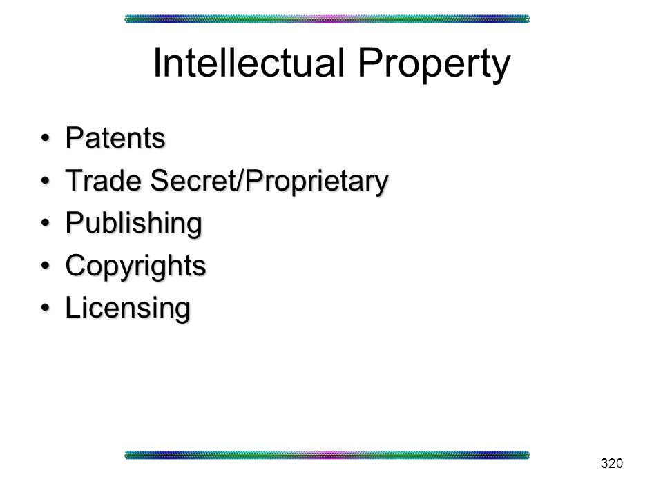 320 Intellectual Property PatentsPatents Trade Secret/ProprietaryTrade Secret/Proprietary PublishingPublishing CopyrightsCopyrights LicensingLicensing