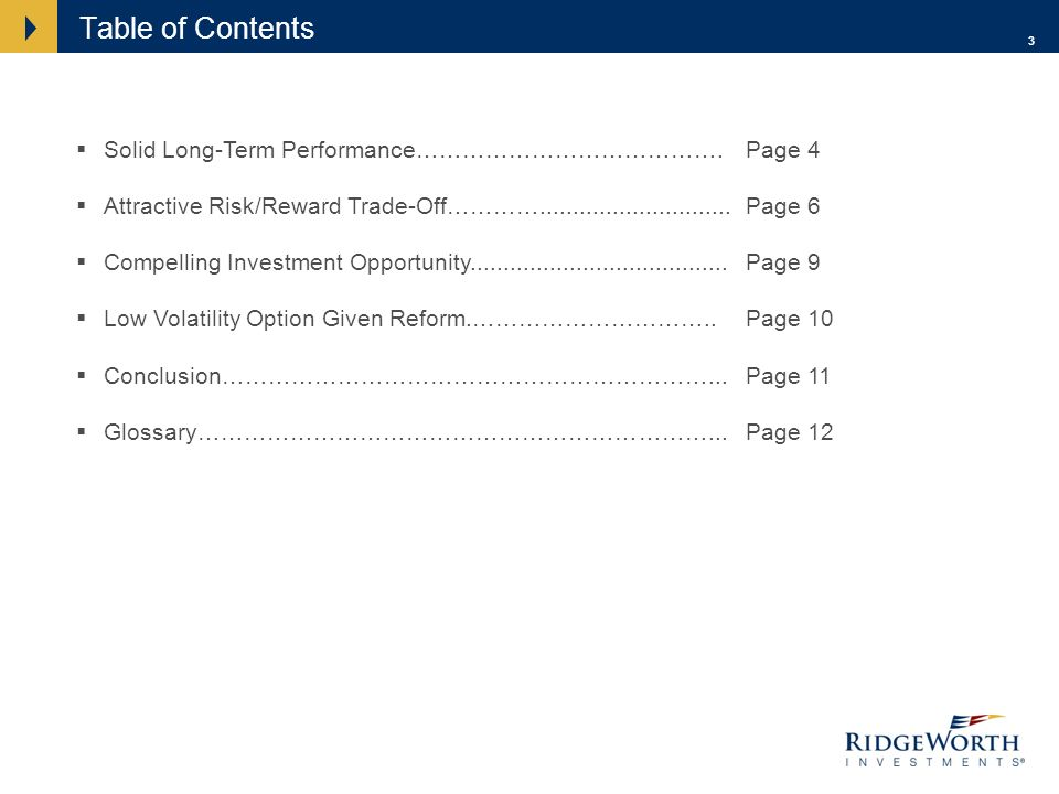 3 Table of Contents Solid Long-Term Performance………………………………….