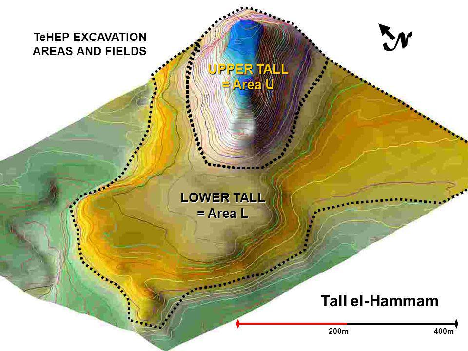 Tall el-Hammam N 200m400m UPPER TALL = Area U LOWER TALL = Area L TeHEP EXCAVATION AREAS AND FIELDS