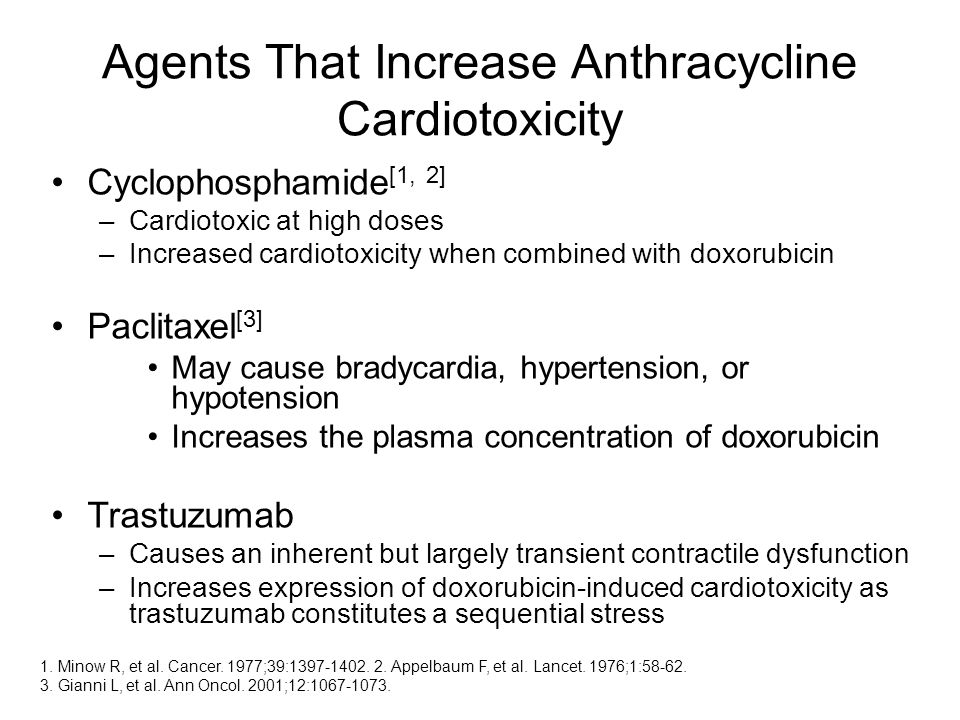 Agents That Increase Anthracycline Cardiotoxicity Cyclophosphamide [1, 2] –Cardiotoxic at high doses –Increased cardiotoxicity when combined with doxorubicin Paclitaxel [3] May cause bradycardia, hypertension, or hypotension Increases the plasma concentration of doxorubicin Trastuzumab –Causes an inherent but largely transient contractile dysfunction –Increases expression of doxorubicin-induced cardiotoxicity as trastuzumab constitutes a sequential stress 1.