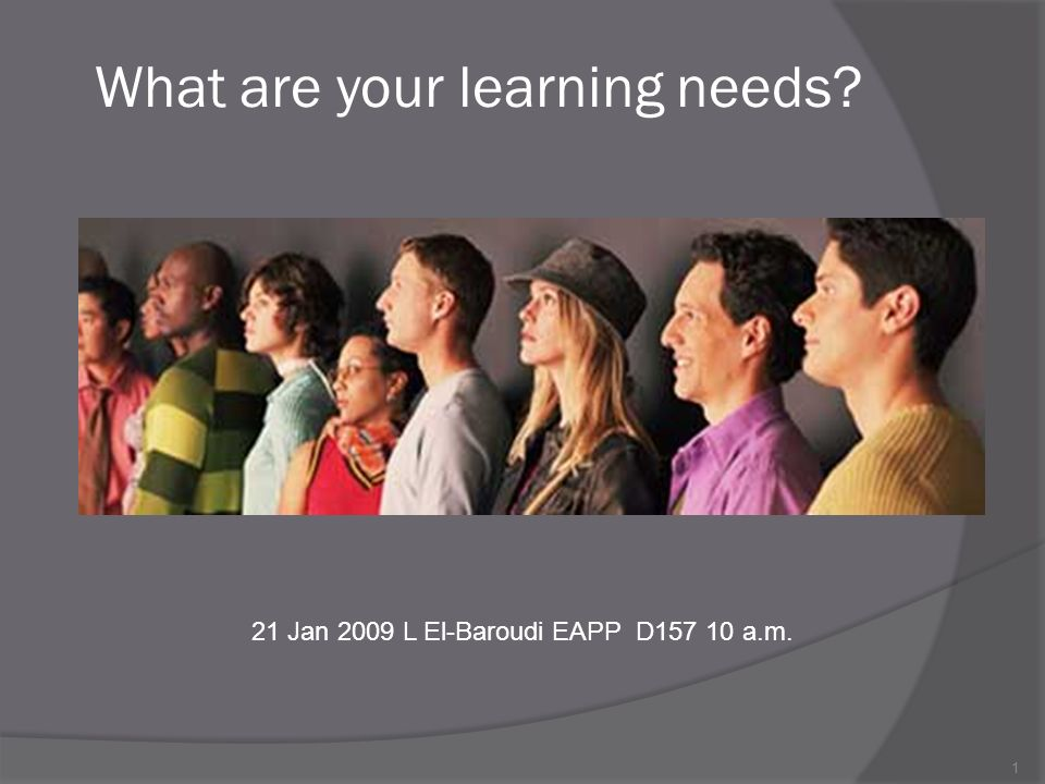 1 What are your learning needs 21 Jan 2009 L El-Baroudi EAPP D a.m.