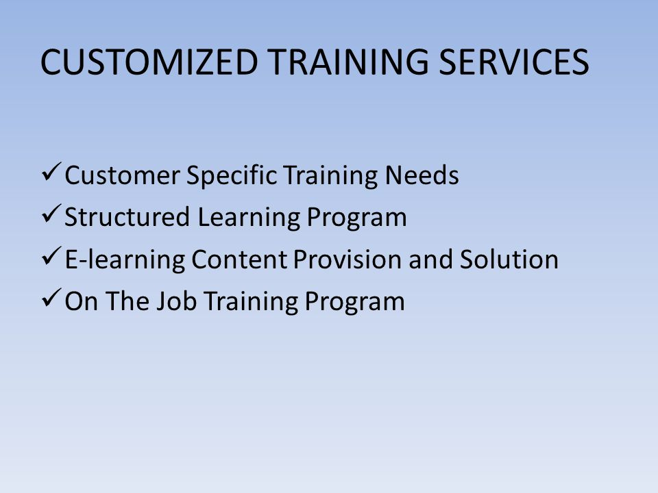 CUSTOMIZED TRAINING SERVICES Customer Specific Training Needs Structured Learning Program E-learning Content Provision and Solution On The Job Training Program